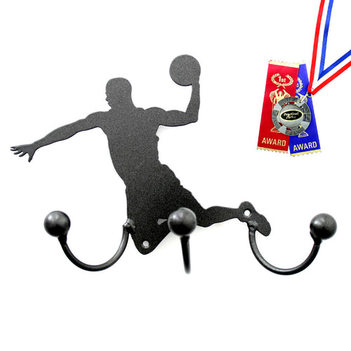 Basketball Wall  Decor With Three Wrought Iron Hooks: Metal Profile Of A Basketball Player Going For The Slam Dunk Hoop Shot.