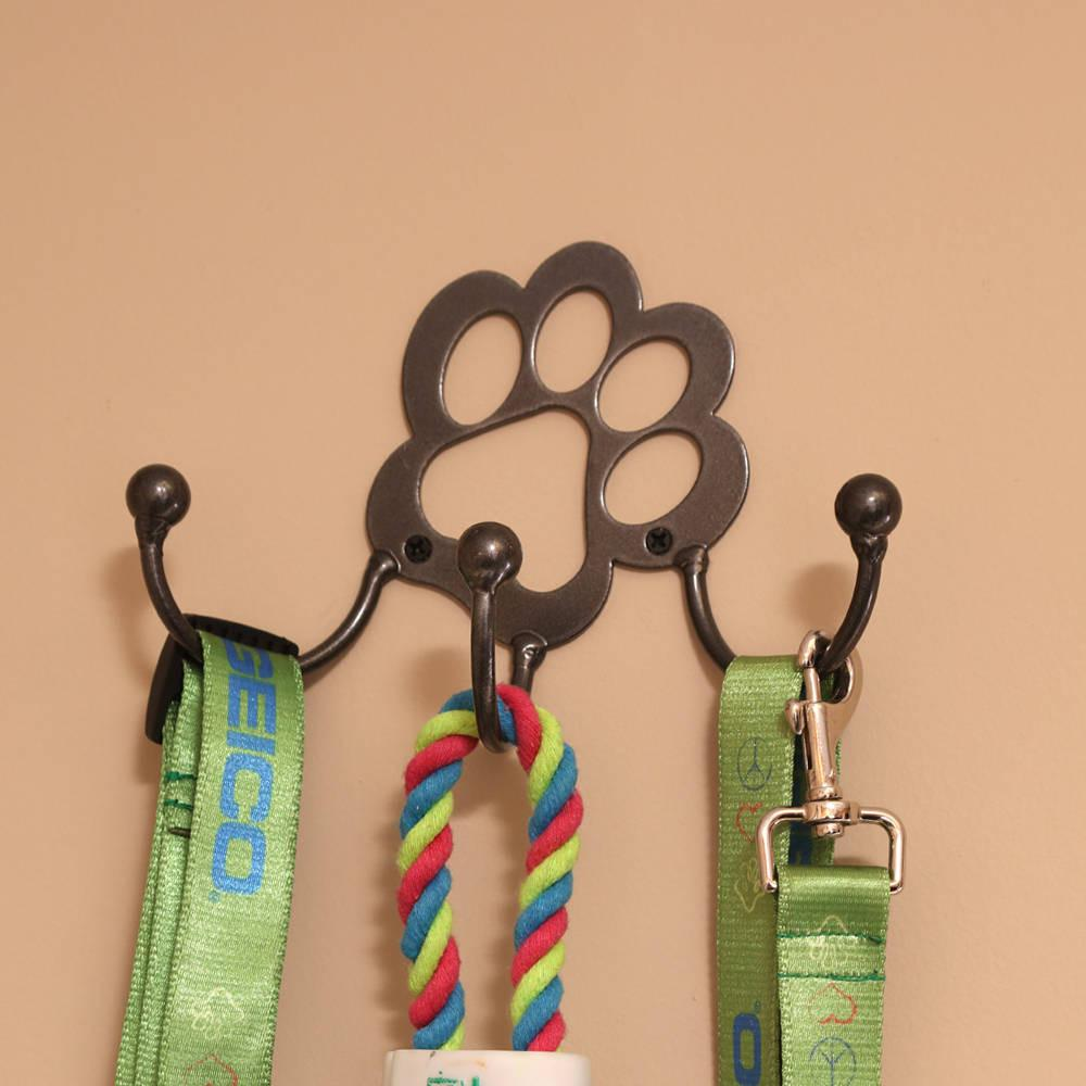 Metal Wall Art Leash Holder: Buy this laser cut paw print design with the hanger hooks