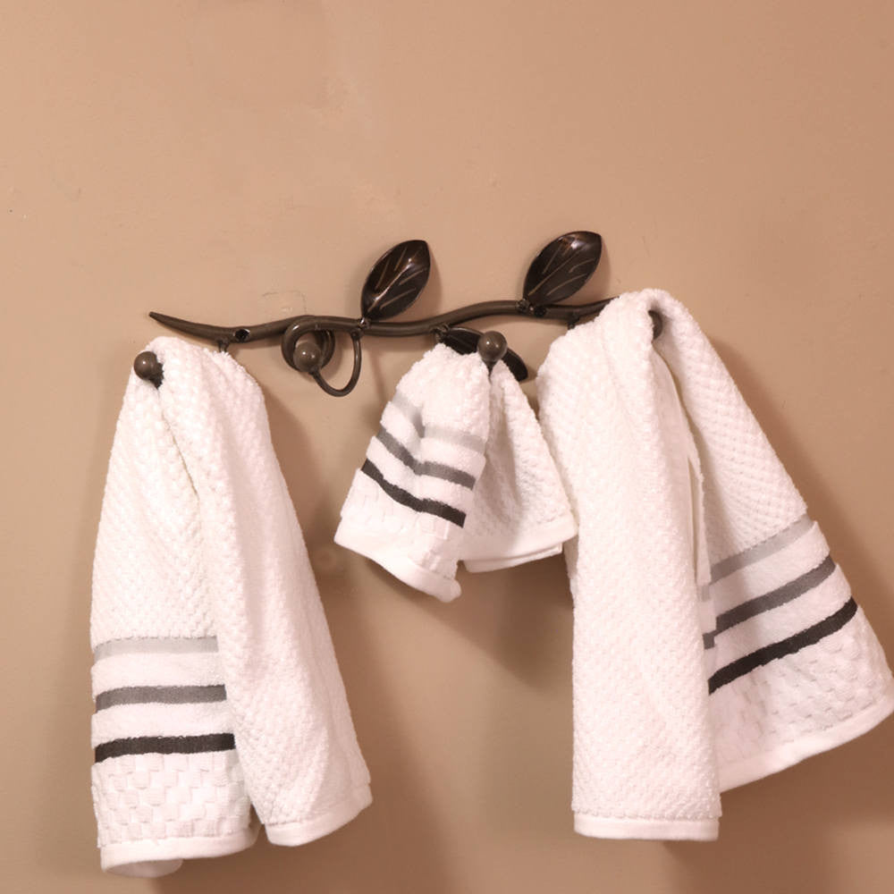 Coat And Towel Hook On Decorative Vine: Wall-mounted Metal Art With 4 Hooks For Coats And Towels