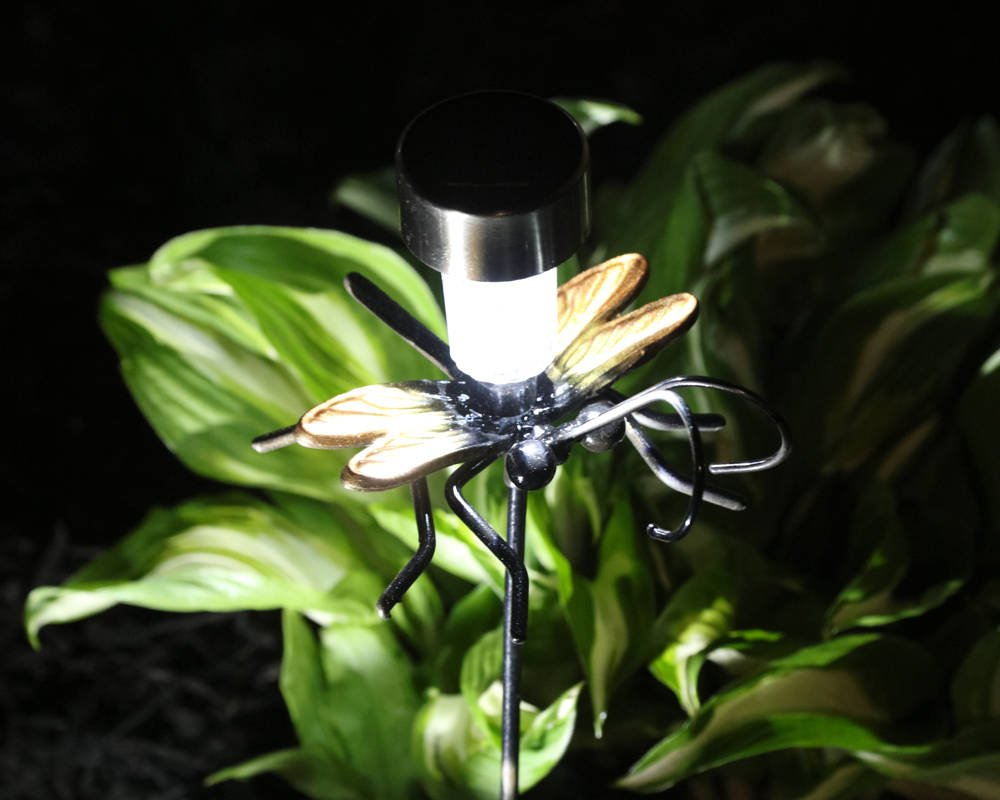 Home Decor & Outdoor Decor = Garden Art Metal Dragonfly On A Garden Stake With Solar Light. Yard Art For Birthday Present/Housewarming Gift!