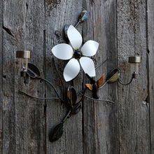 Flower And Hummingbird With 2 Solar Lights Metal Art For Walls And Fences: Metal Flower + Metal Bird + 2 LED Lights