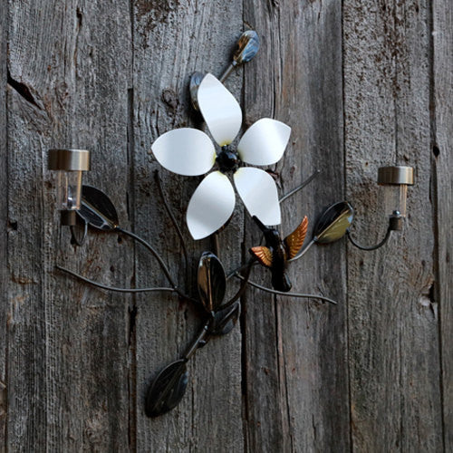 Metal Art Flower And Hummingbird With 2 Solar Lights For Walls And Fences