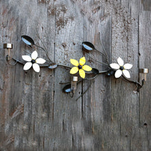 3 Metal Flowers On A Vine: Home Decor, Linear Wall-mounted Metal Art