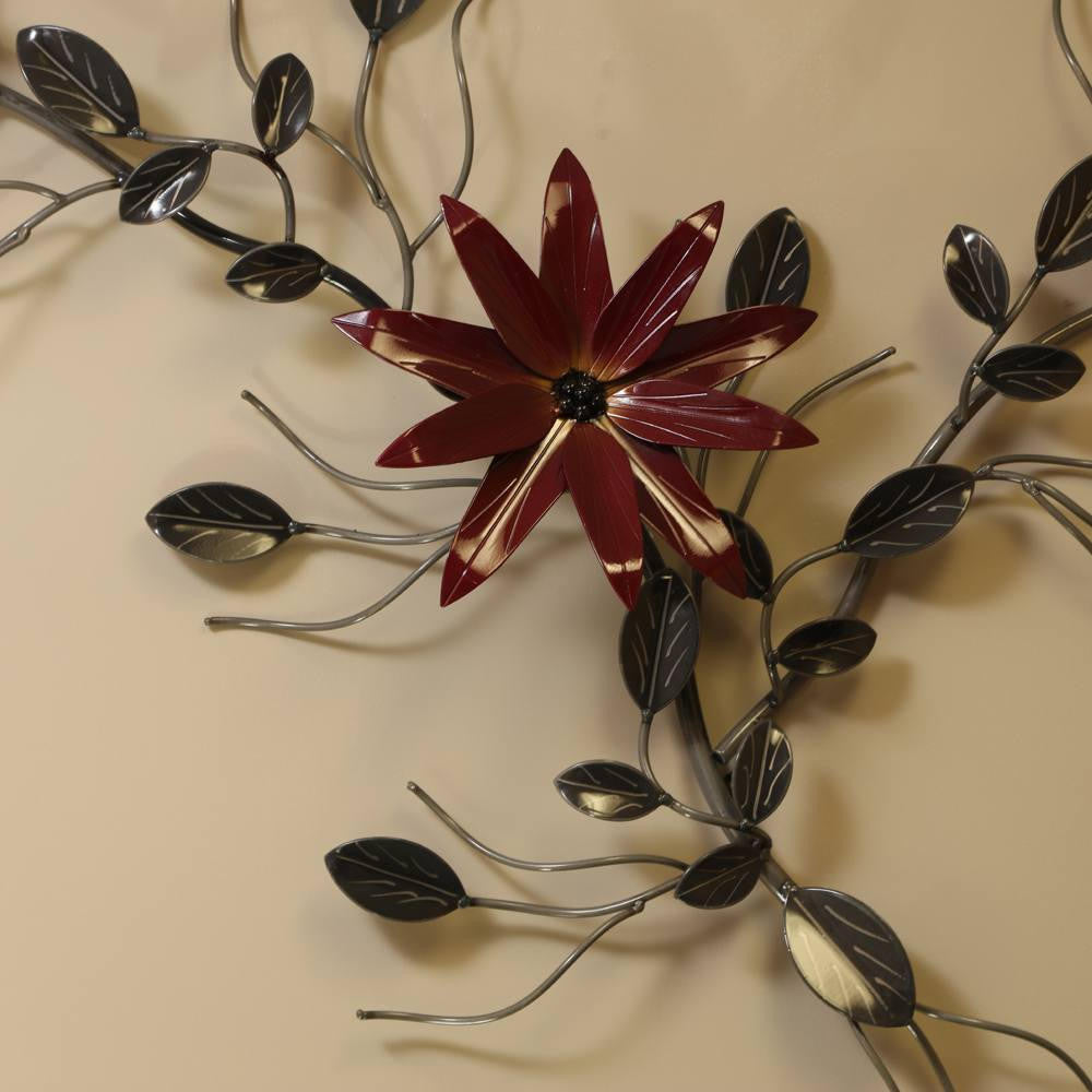 Large Three Flower Metal Wall Art Vine Decor For Home And Workplace