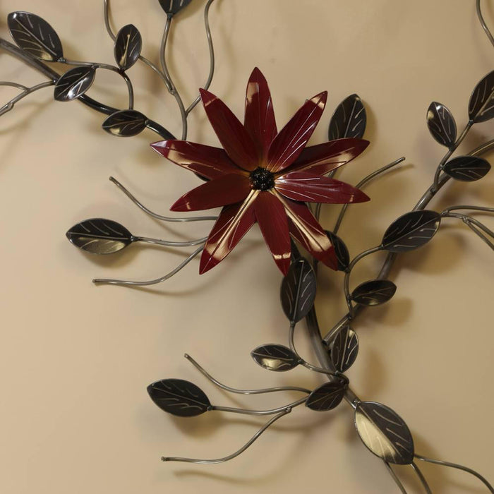 Three Flower Vine Metal Wall Art Decor For Home And Workplace