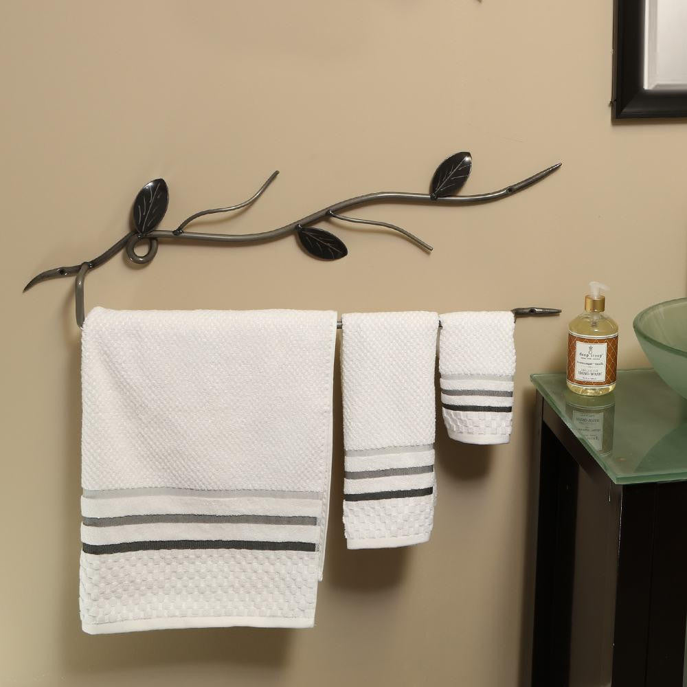 Ornamental Vine Towel Bar - Large: Wall-mounted Decorative Metal Art Towel Bars