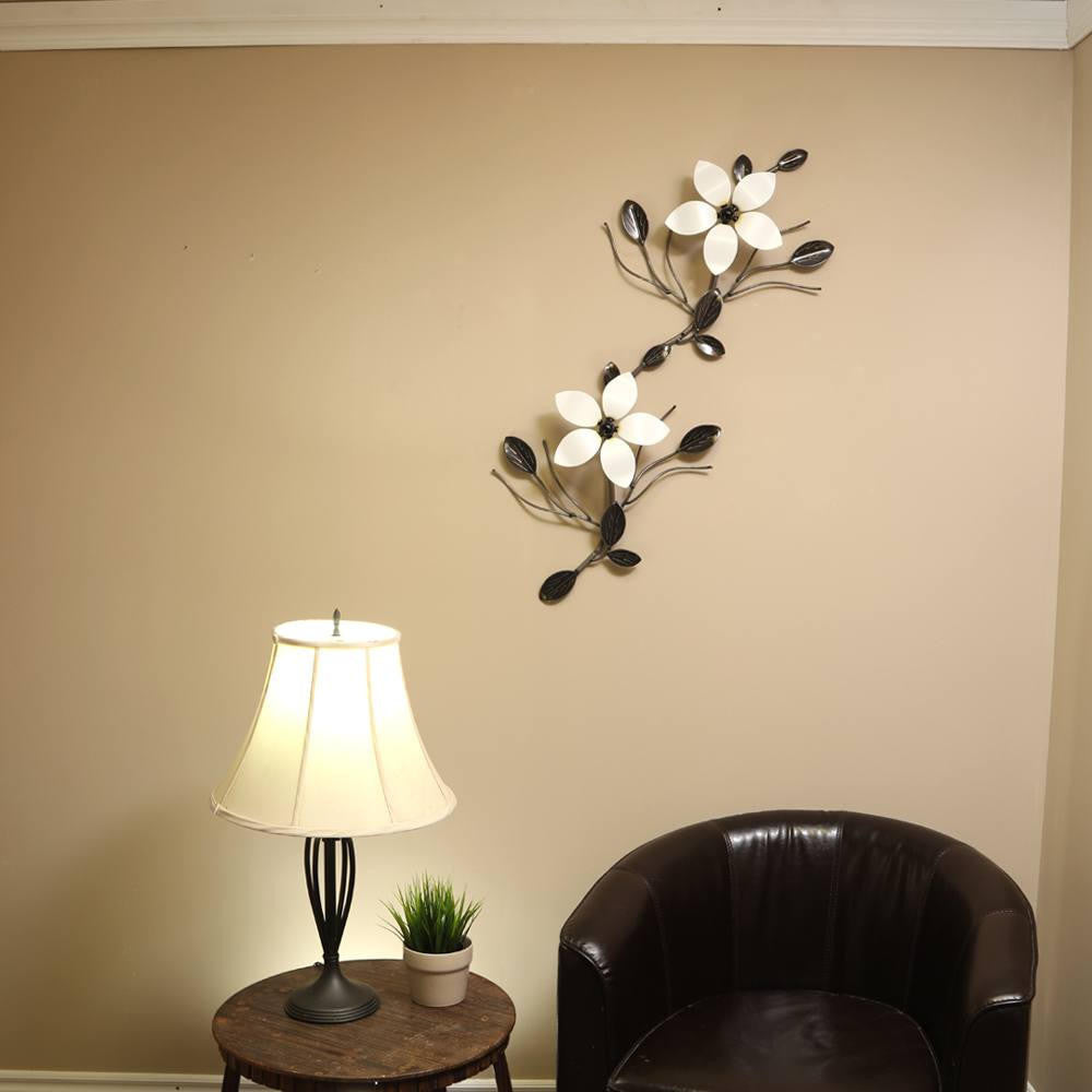 Interconnecting Metal Flower Vine: Wall Art Decor / Décor With Two Interchangeable Flowers