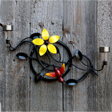 Yard Art Exterior Home Decor: Metal Art Hummingbird, Large Flower, Ornamental Vine + Solar Lights Yard Art = Metal Bird Art Birthday Gift
