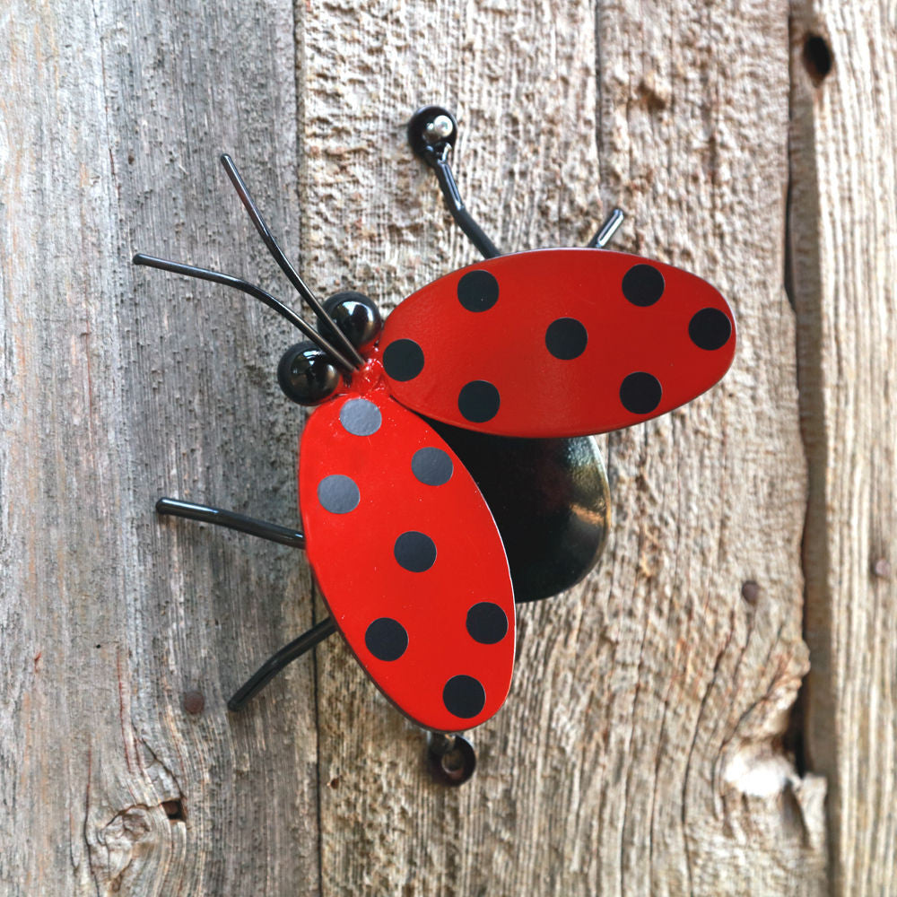 Flying Ladybug Metal Wall Art For Fences And Walls Decor