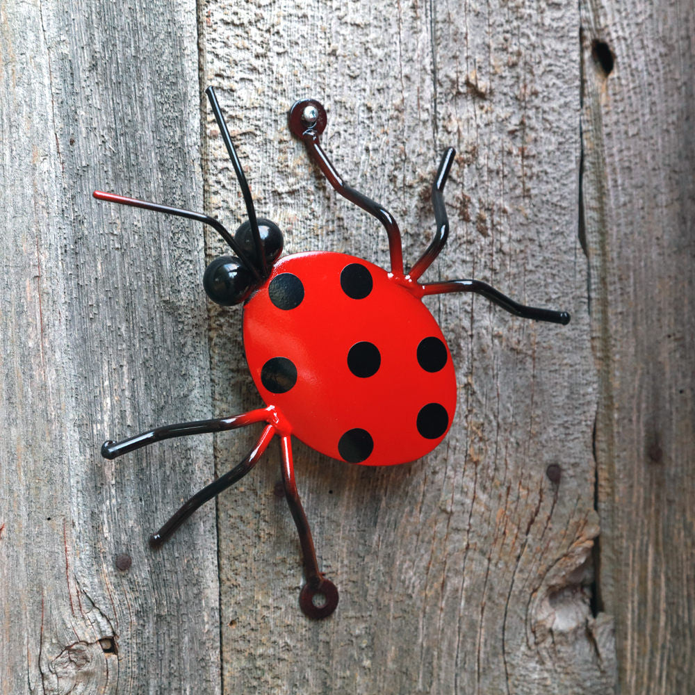 Wall-mounted Ladybug for Fences, Walls & Other Flat Surfaces: Ladybugs Metal Wall Art