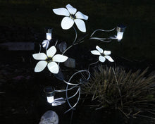 3 Large White Metal Flowers with 3 solar lights alight on a wrought iron vine that has hand-etched leaves on a garden stake planted in a garden beside a plant during night-time darkness.