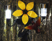 Flower And Hummingbird With Solar Lights: Metal Wall Art By Solar-powered LED Light