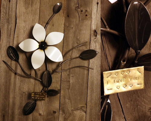 Single Flower Vine - Metal Wall Art with Custom Plaque