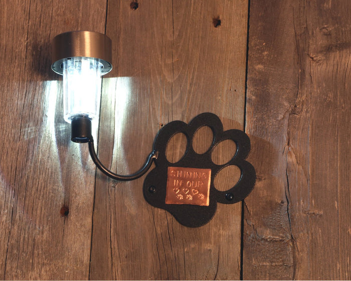 Memorial Dog Paw Personalized Solar Light: Dog Memorial Metal Wall Art c/w Solar Light + Copper Plaque Custom Engraved Made By Practical Art