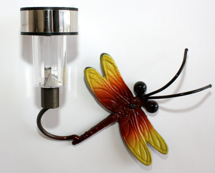Small Dragonfly Solar Light: Metal Art Dragonflies For Fences or Walls