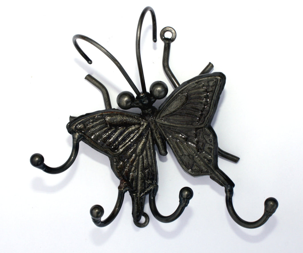 Butterfly Metal Art: Wall-mounted Hanger With 4 Hooks For Keys And Jewelry