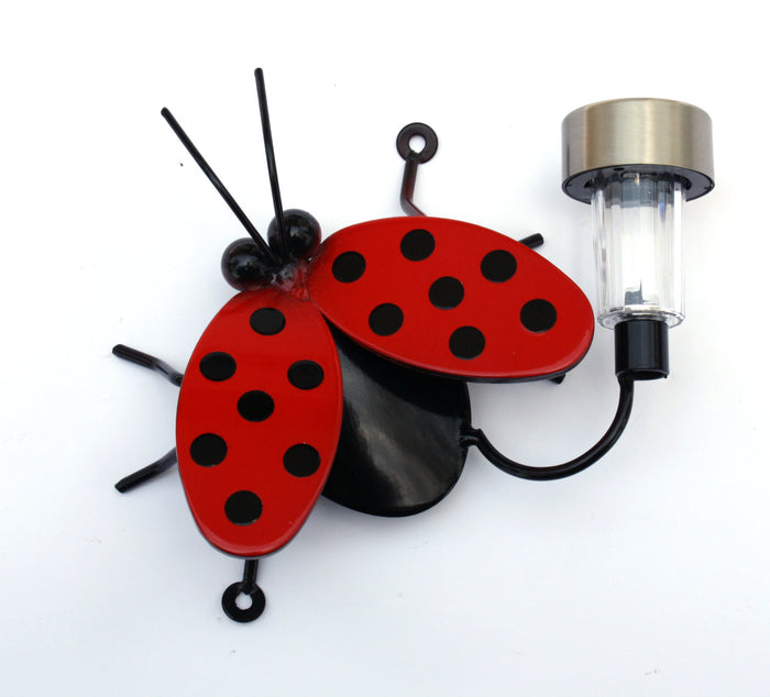 Ladybug Solar Light: Large Flying Metal Ladybugs For Fences And Walls