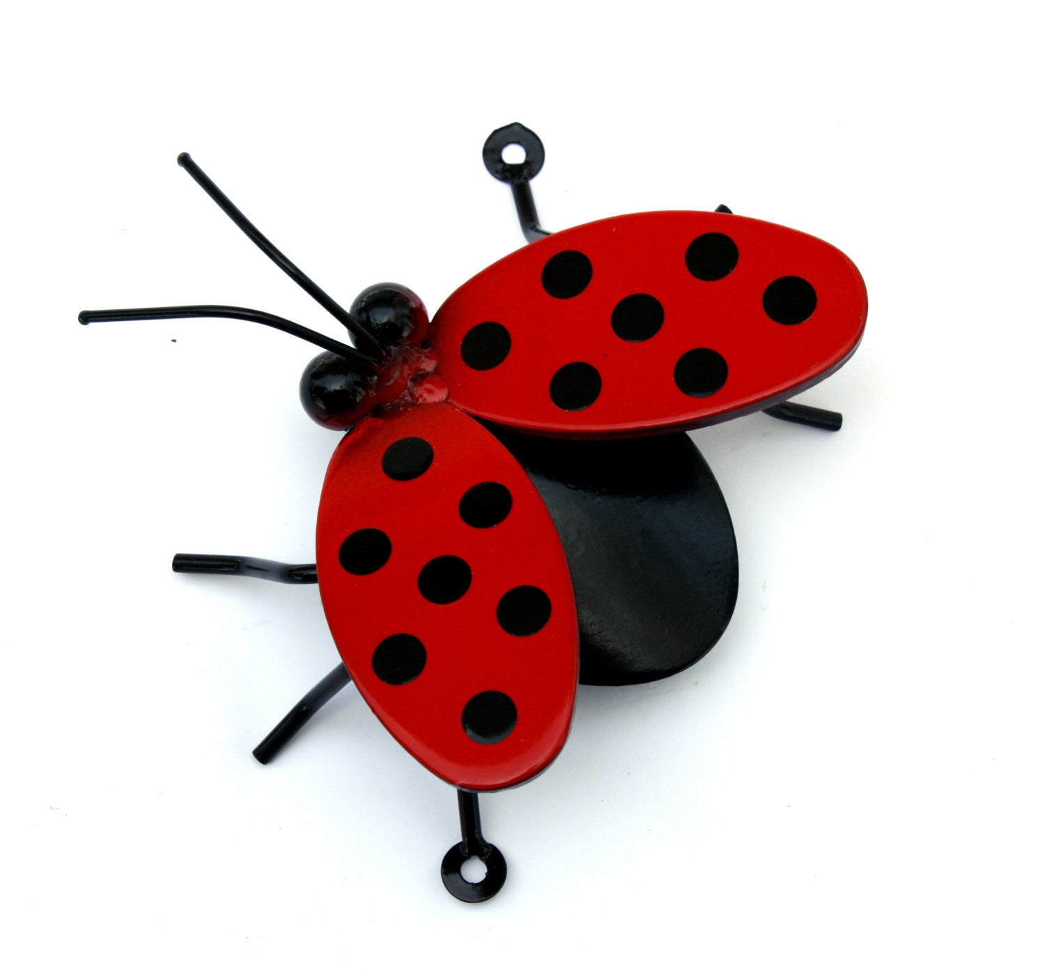 Ladybug Flying / Wings Open: Metal Art Ladybugs On A Garden Stake