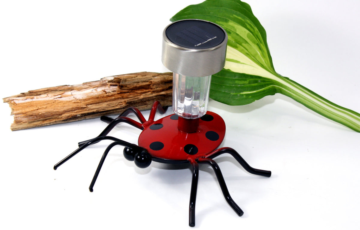 Solar Light Ladybug On A Garden Stake: Metal Art Ladybugs For Gardens