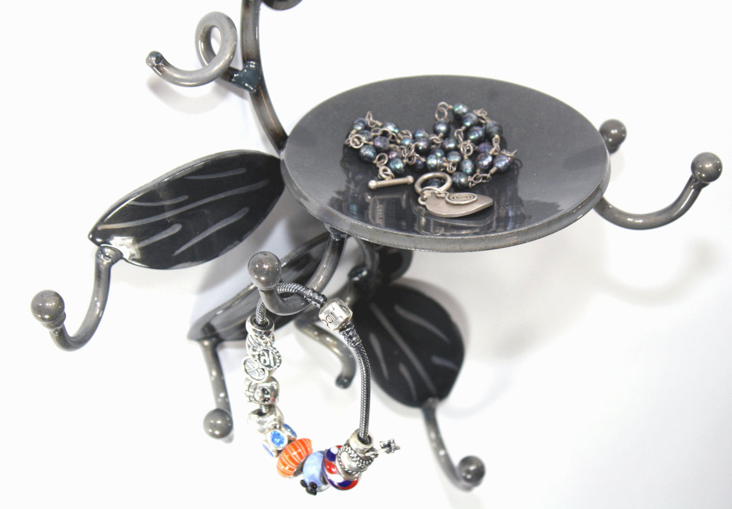 Jewelry Holder: Metal Art Vine With Small Dish And 5 Hooks For Keys, Rings, Change + And Other Small Items