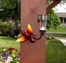 Hummingbird Solar Light For Fences Or Walls: Wall-mounted Metal Art Small Bird + Light