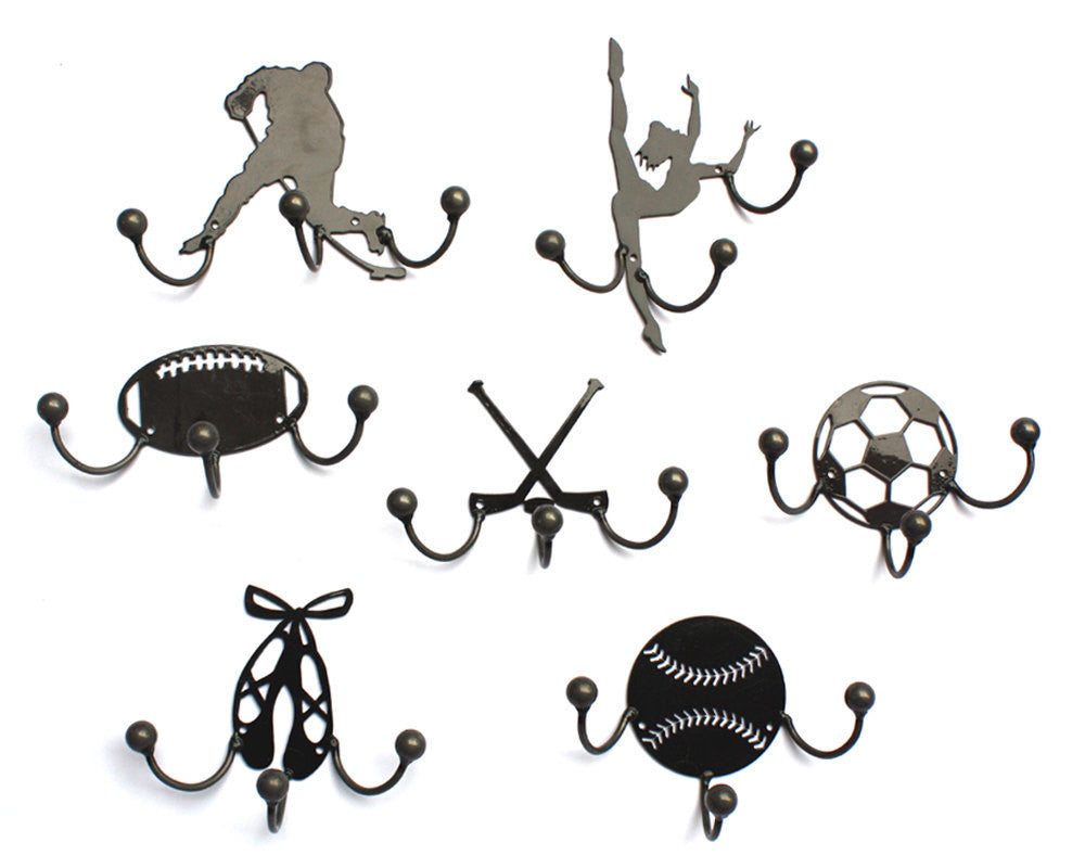 Football Award Hook: Set Of Two Metal Art Wall-mounted Awards With 3 Hooks
