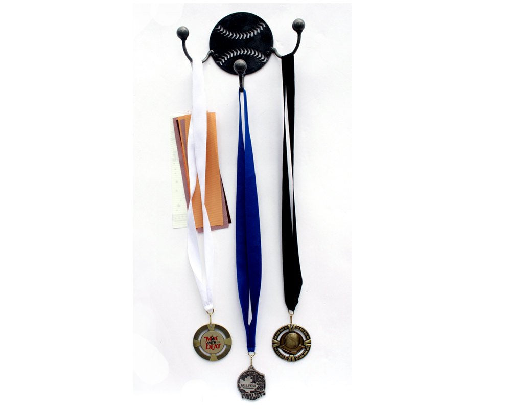 Baseball Metal Wall Art Hooks. Set of 2 Award Displays: Metal Art Baseball Player Gift For Ball Coach. Wall Mounted Holders For Coats, Bags+