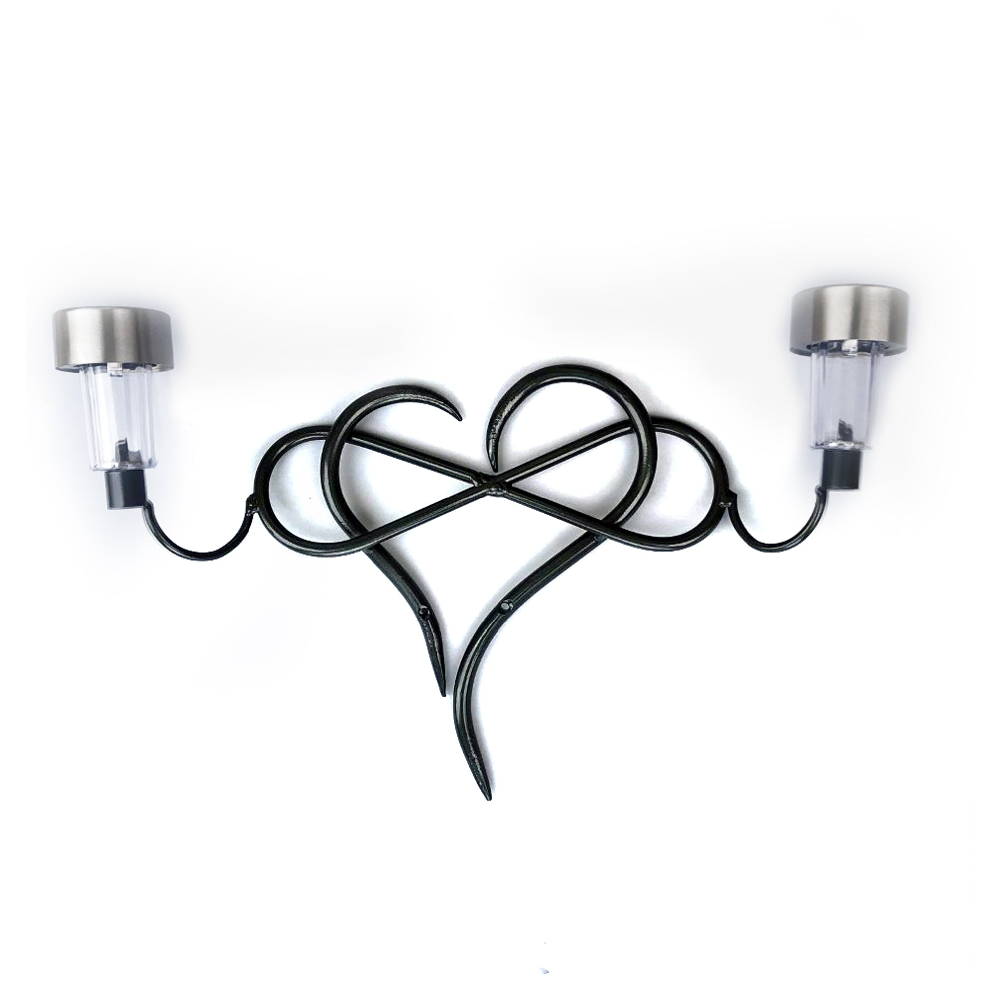 Infinity Heart Metal Wall Art with Solar Light- Home and Outdoor Decor