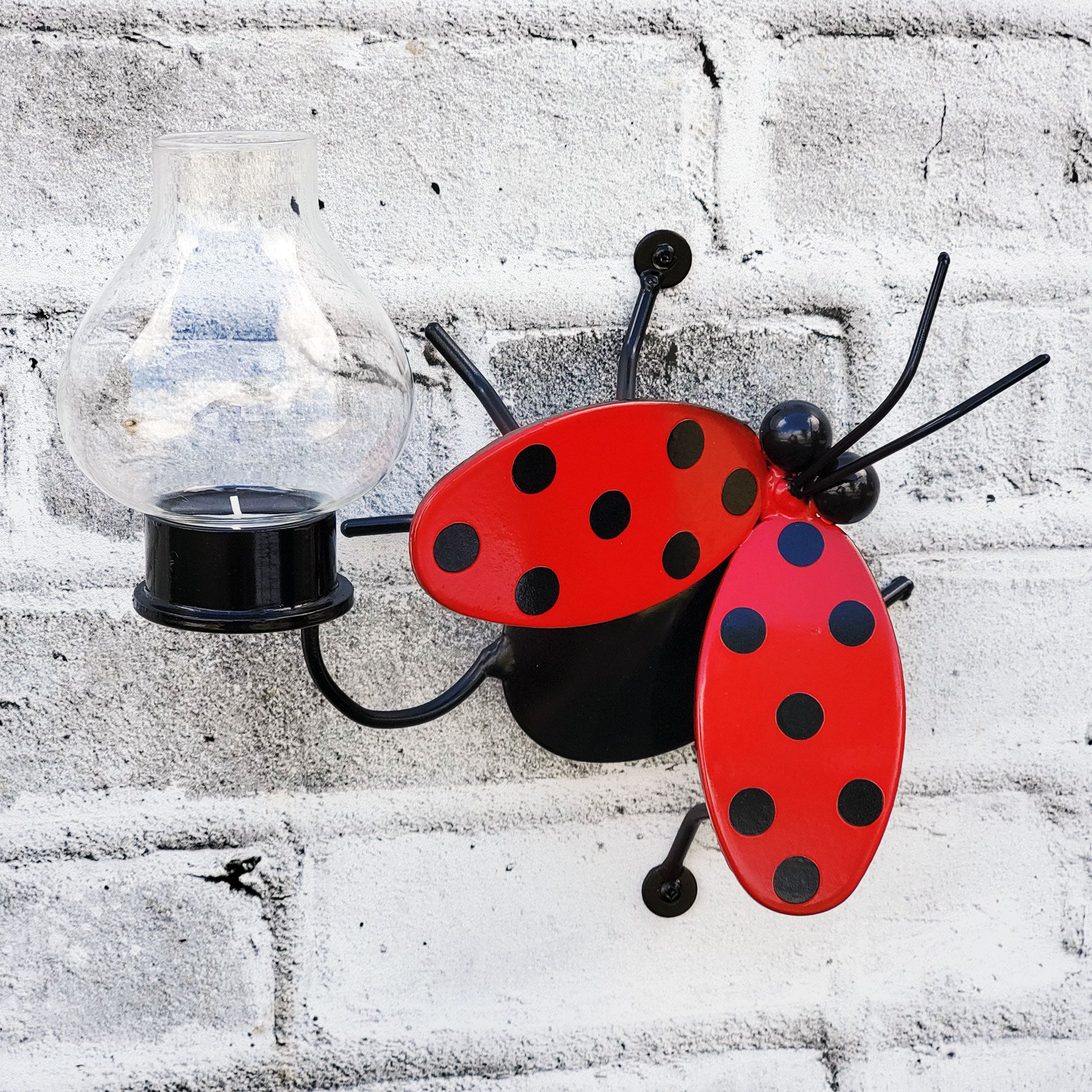 Metal Wall Art Flying Ladybug Candle Holder Home Decor