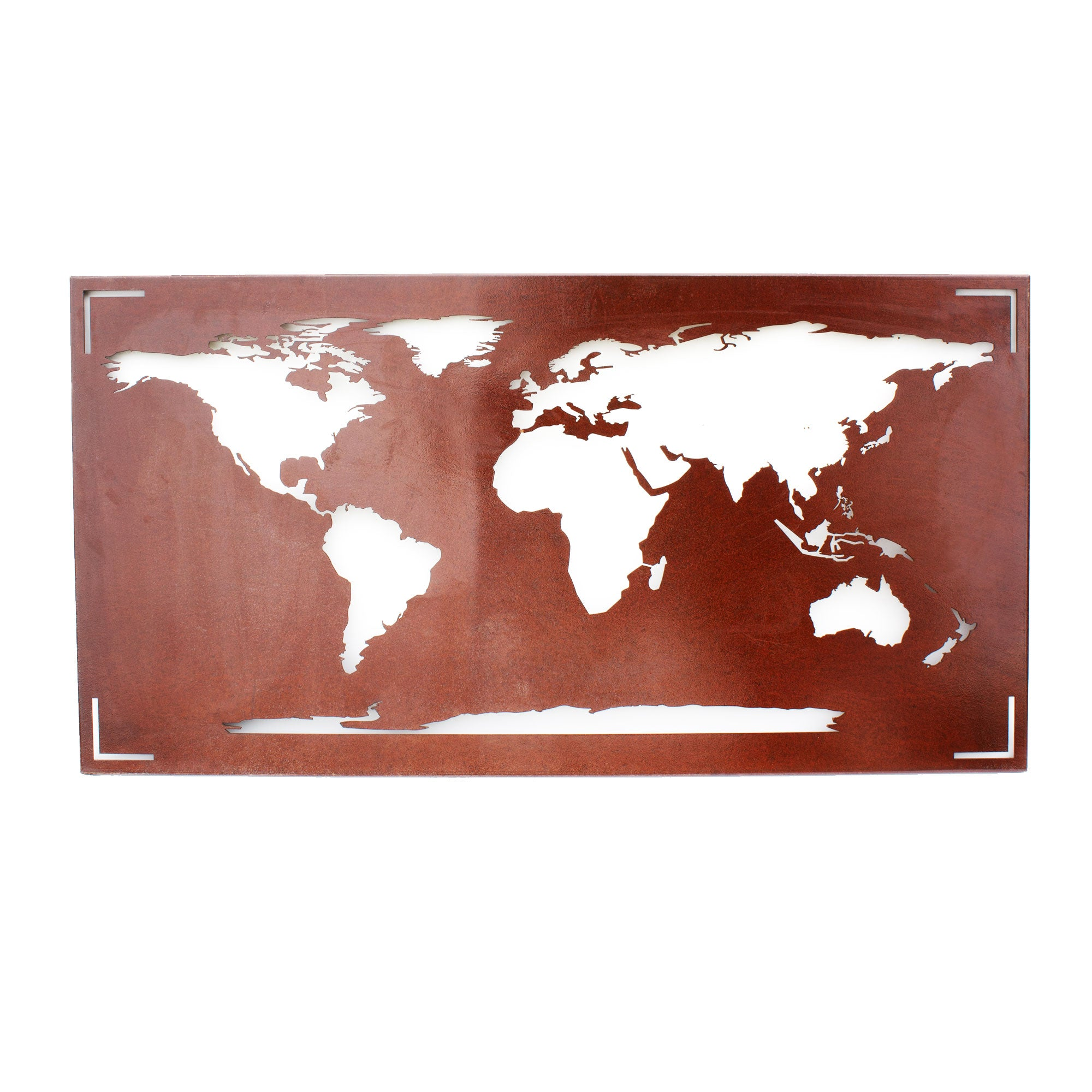 Distressed Metal World Map Wall Art