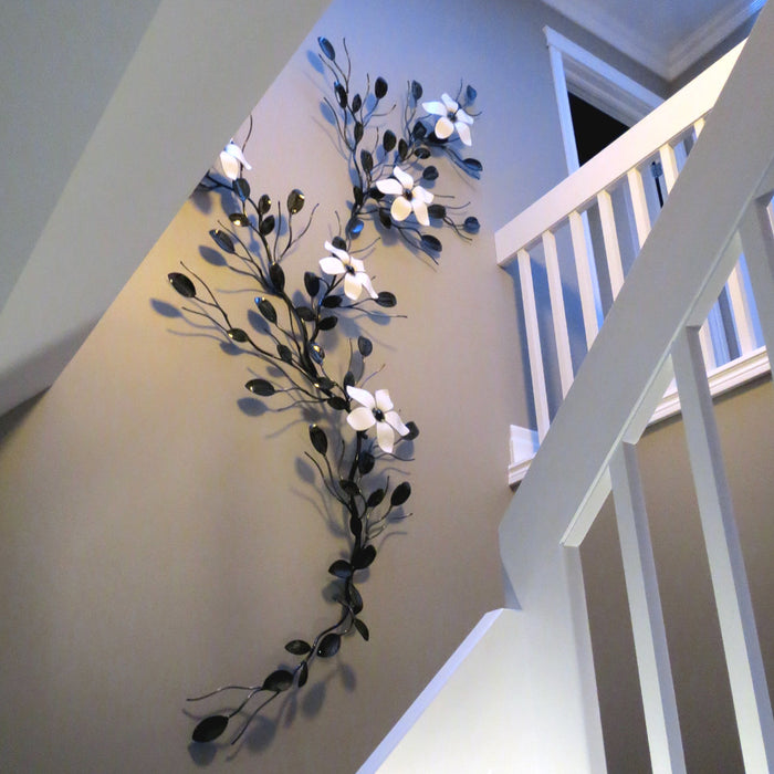 Home Decor - Extra Large Five Flower Vine - Metal Wall Art ...