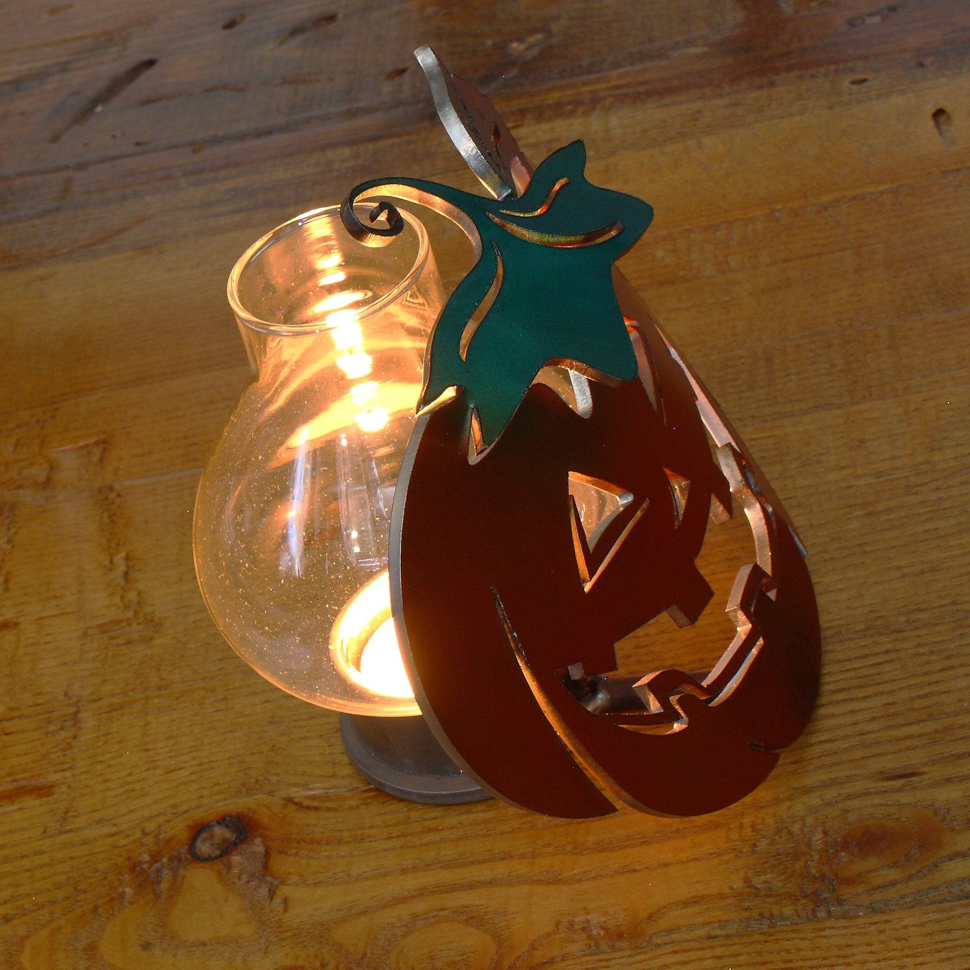 Metal Art Painted Pumpkin candle holder, Halloween pumpkin, Halloween decorations, Halloween candles, Halloween decor