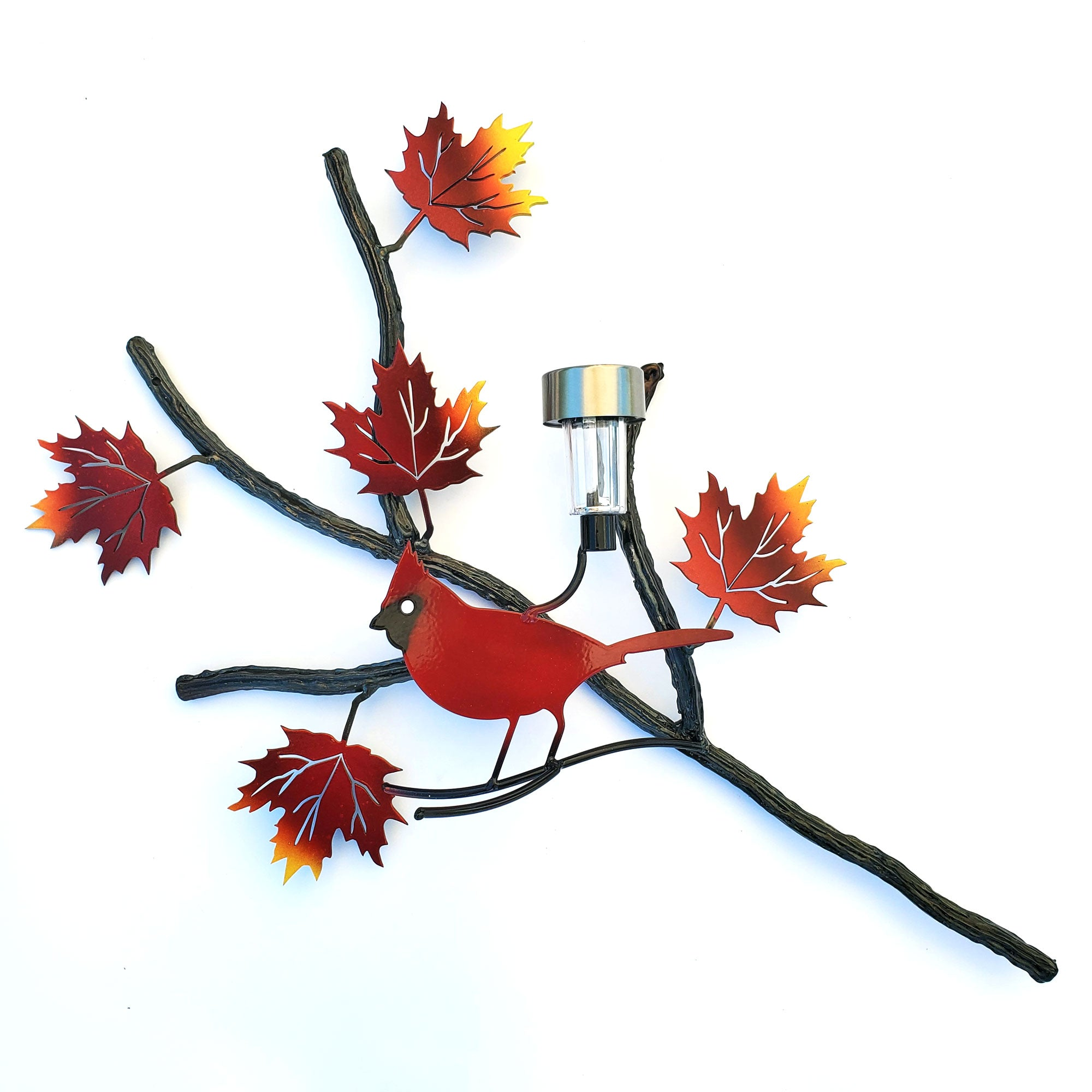 Maple Branch With Red Cardinal Solar Light & Autumn Leaves