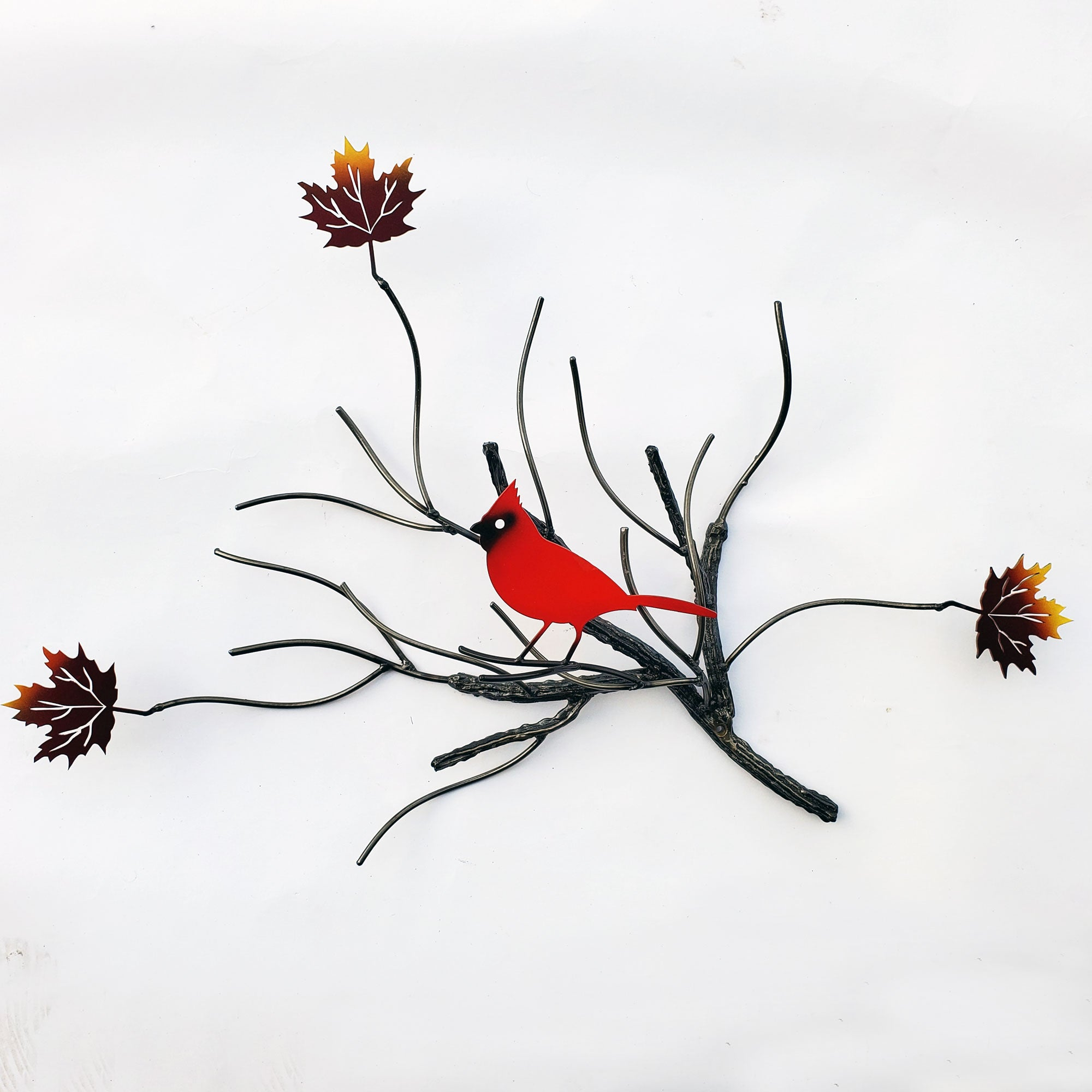 Metal Wall Art of Red Cardinal bird with three maple leafs Home Decor