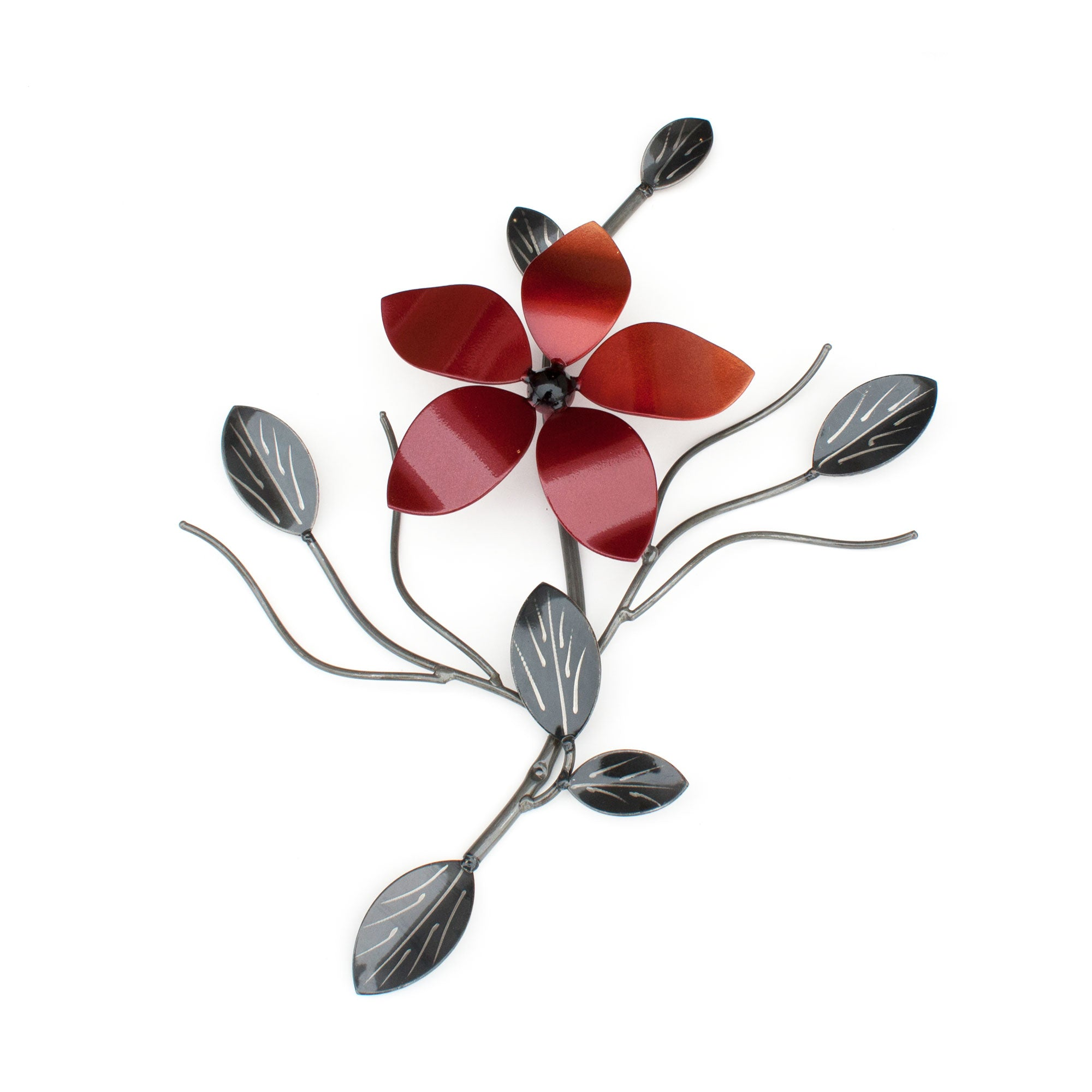 Metal Flower On A Single Vine : Metal Flowers On Vines = Wall-mounted Decor ̸ Décor