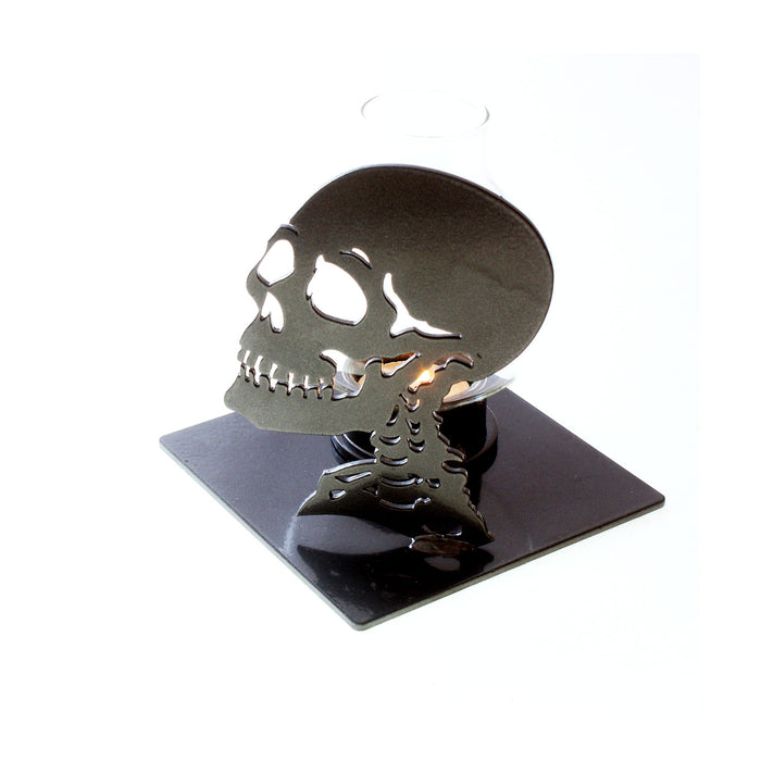 Skull Candle Holder: Candle Holders With Metal Art Skull Goth Decor!!!