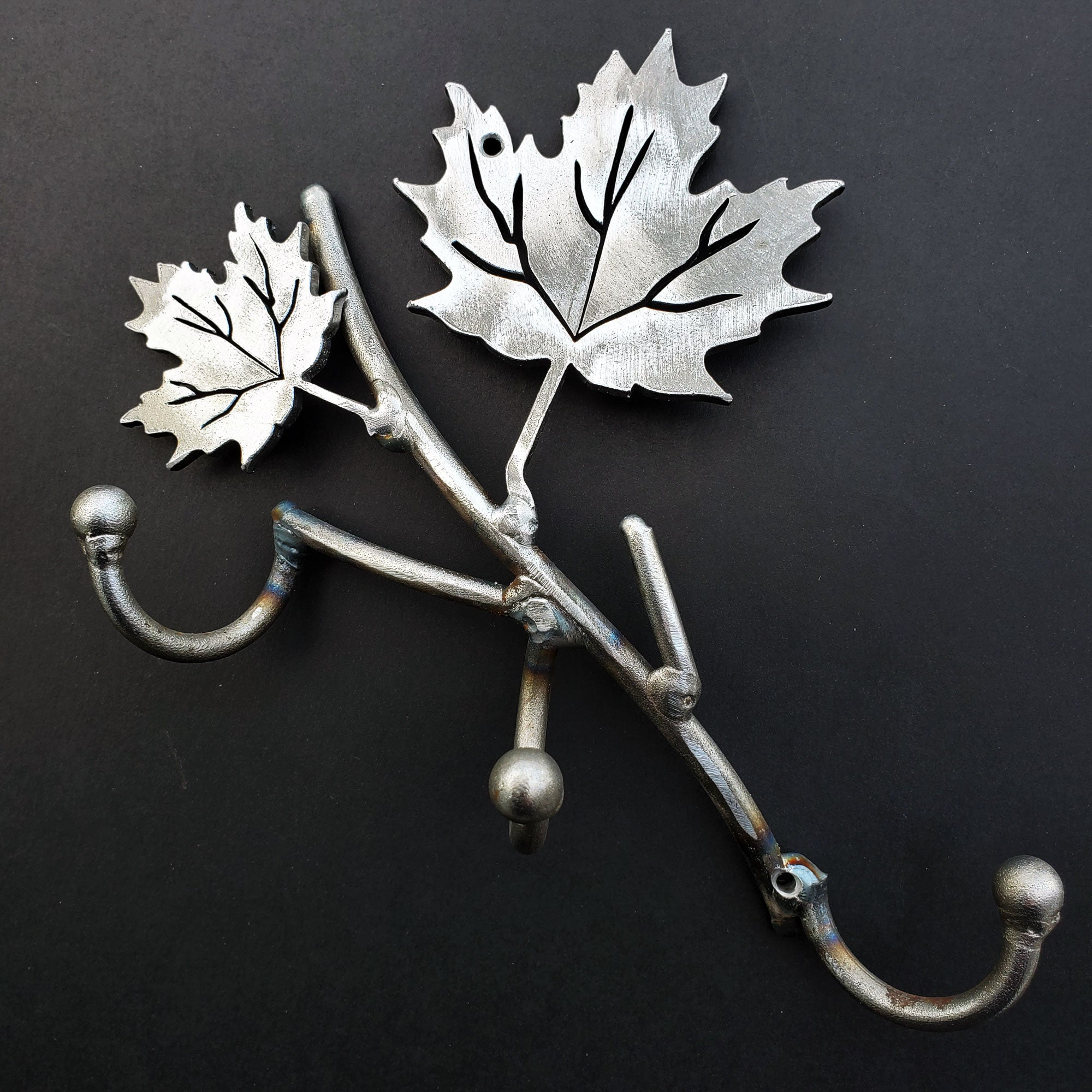 Three Coat Hook Metal Art with Maple Leafs