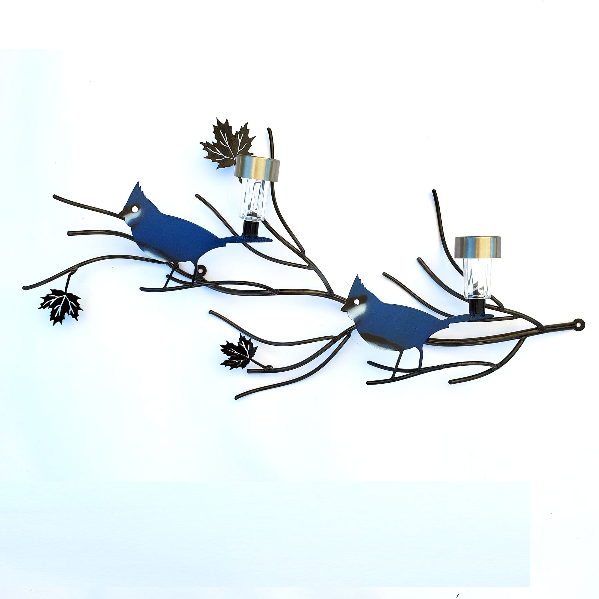 Two Blue Jay Sitting Together Solar Light Metal Wall Art | Home Garden Decor Gifts Item