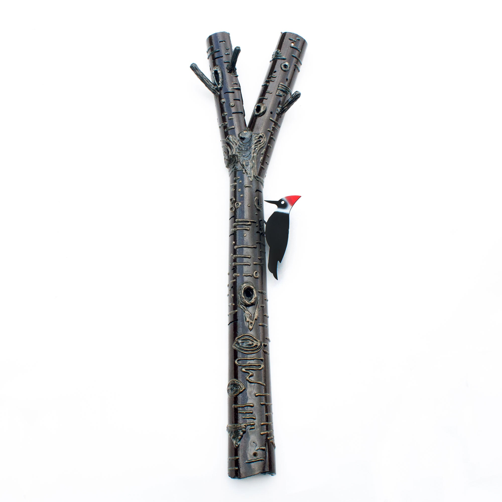 Metal Woodpecker Wall Art on Welded Burch Branch | Practical Art Home Decor