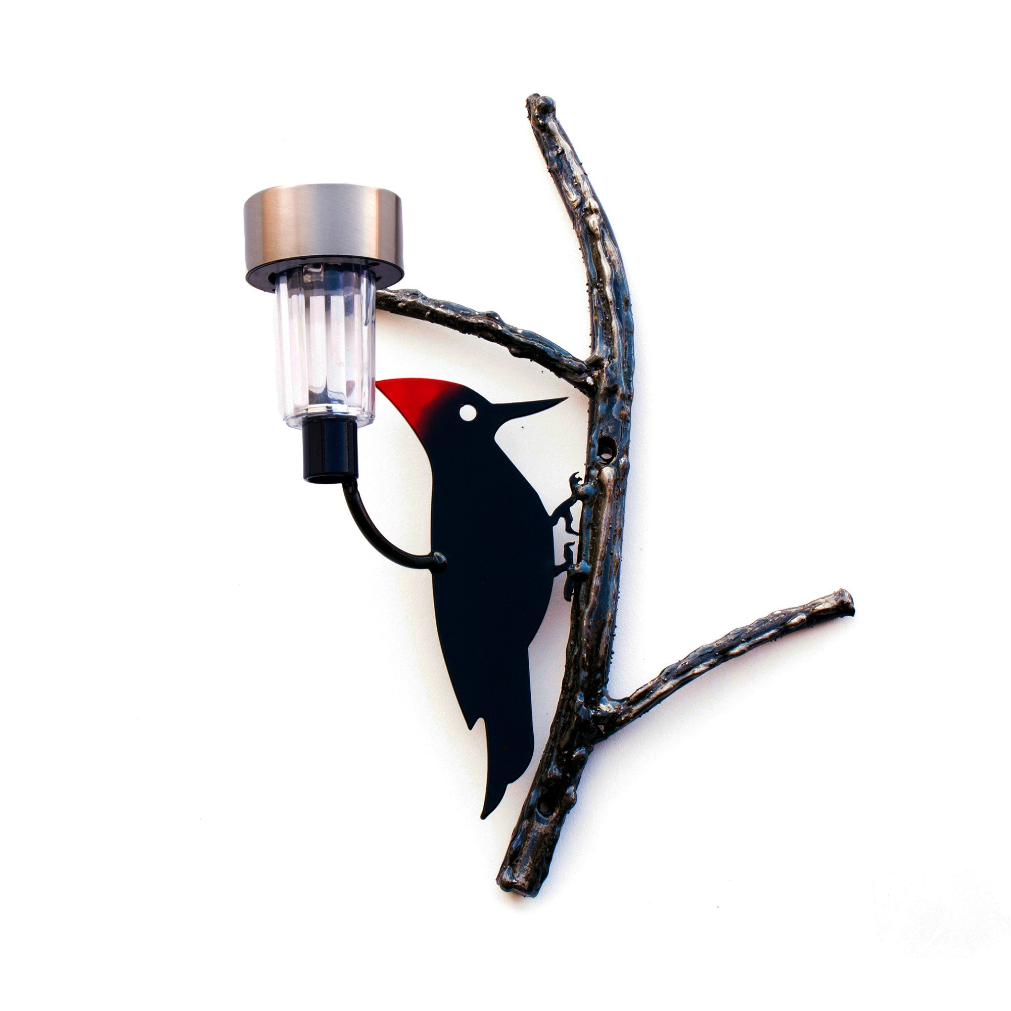 Red Crest Woodpecker Bird on welded  tree branch and waterproof solar light for Garden and home décor