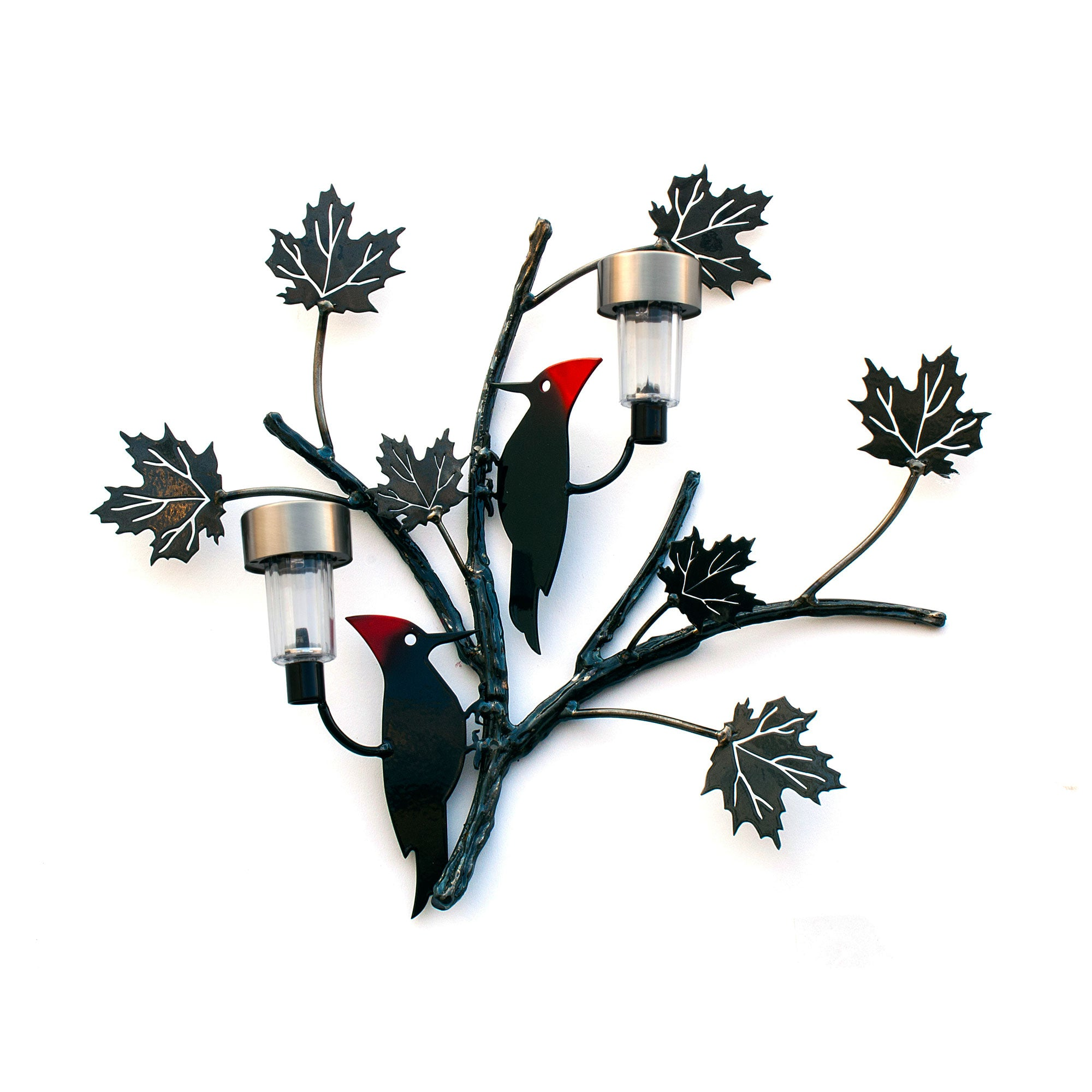 Woodpecker Birds on tree branches and Maple leaves with solar light for Garden and home décor