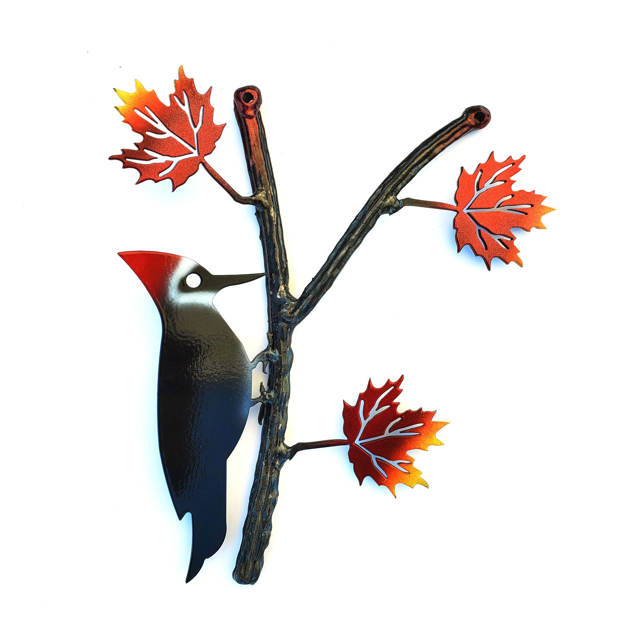 Woodpecker on Maple Branch Colored Autumn Leaves | Home Decor Garden Art