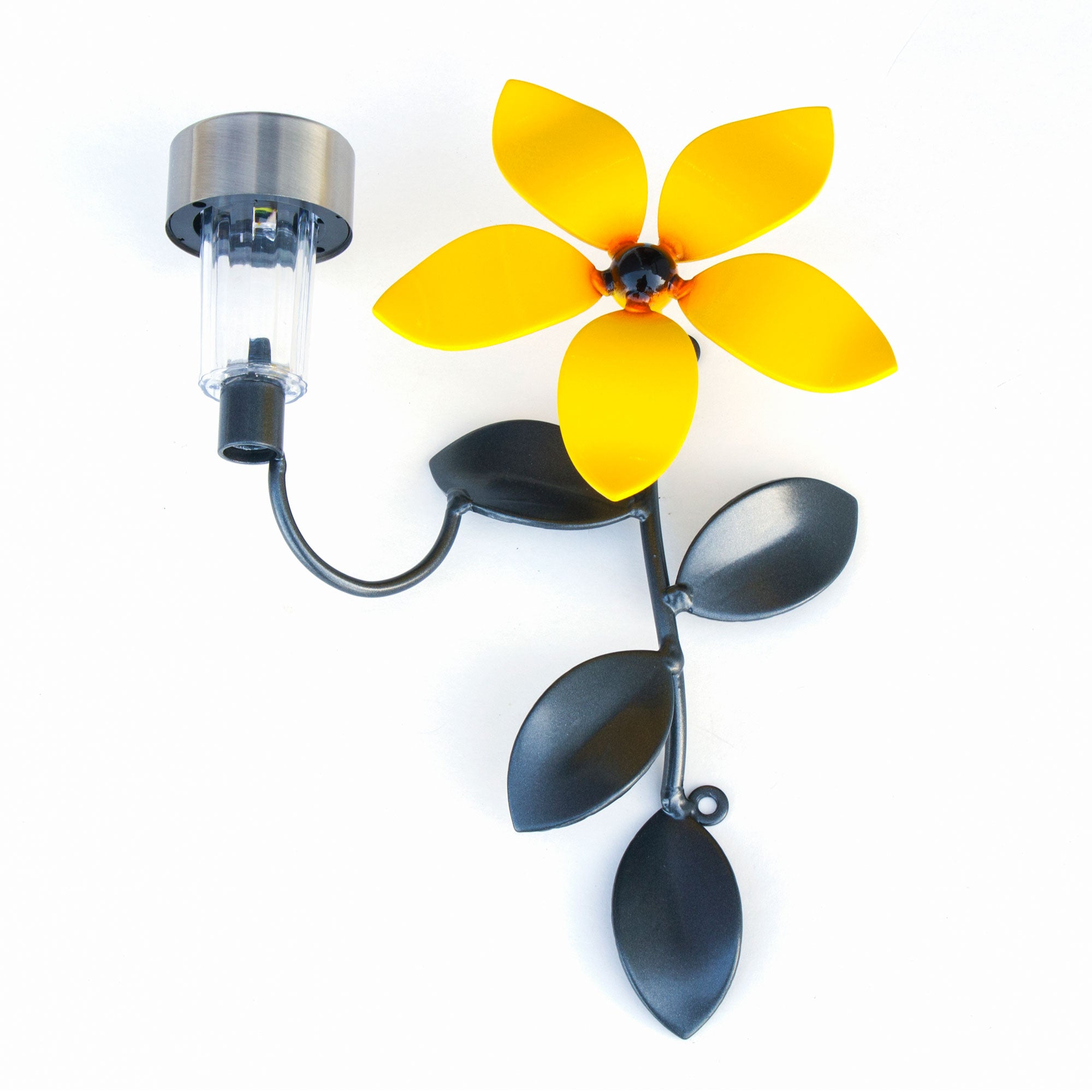 Metal Flower Vine with Solar Light Home Wall Decor with gray coating