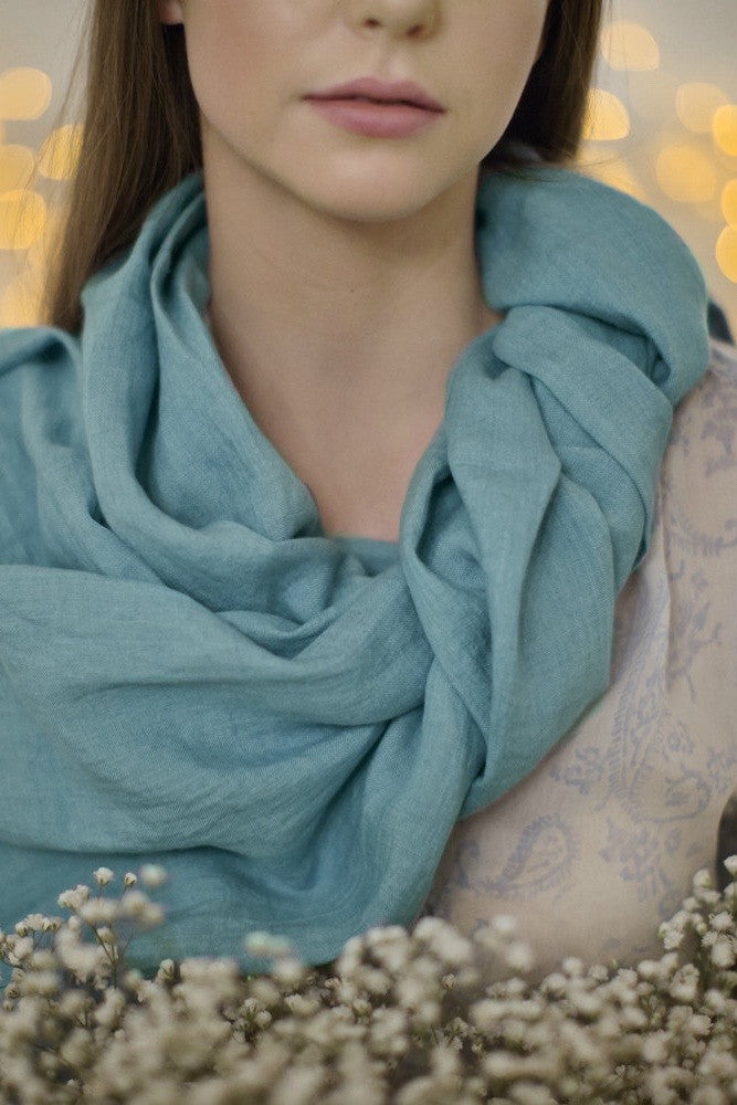 Aquamarine blue softened linen scarf