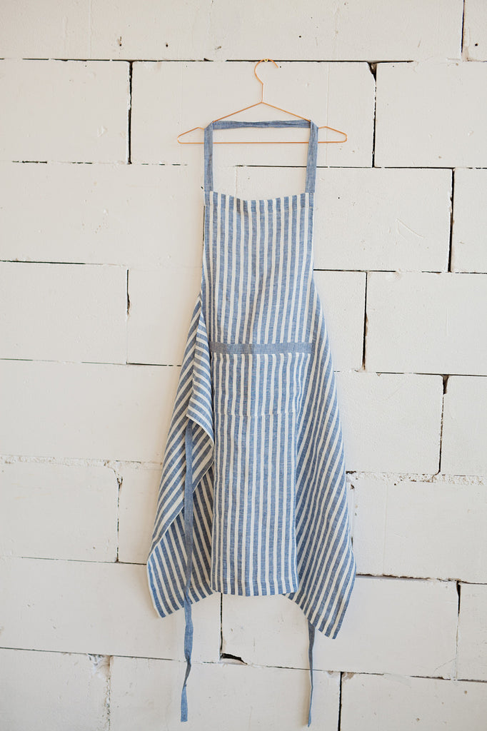 Striped nautical stonewashed linen apron with ties