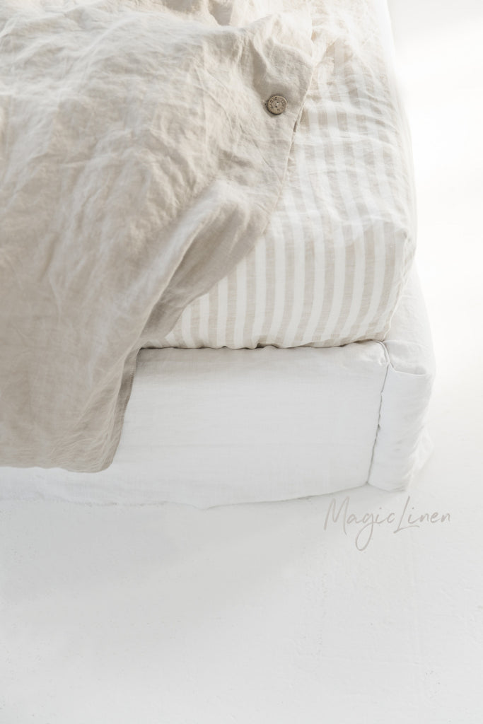 Neutral flax colour softened linen doona cover double king queen size