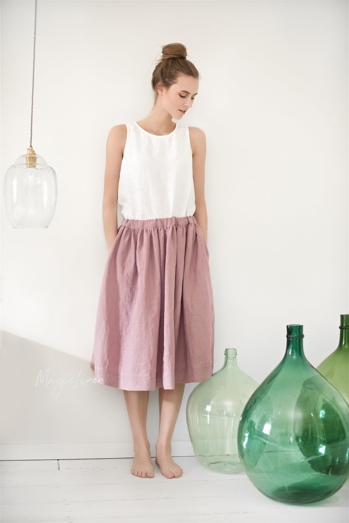 Linen clothing for women washed skirt, from S to XL sizes