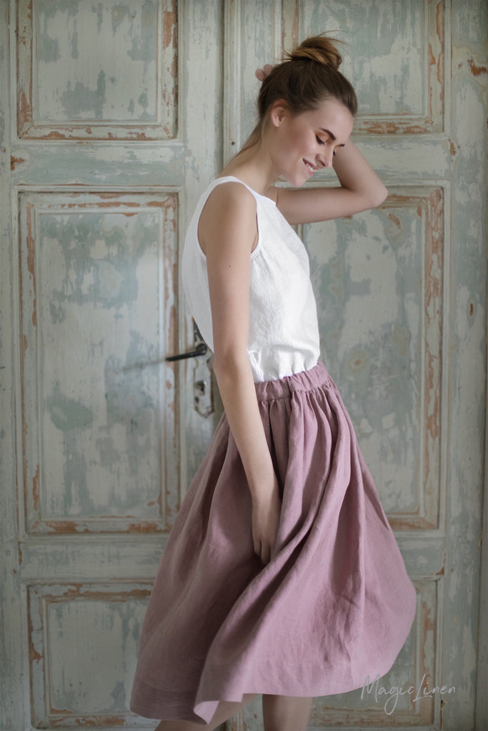 Flax clothes from Europe. Baltic linen skirt mauve colour