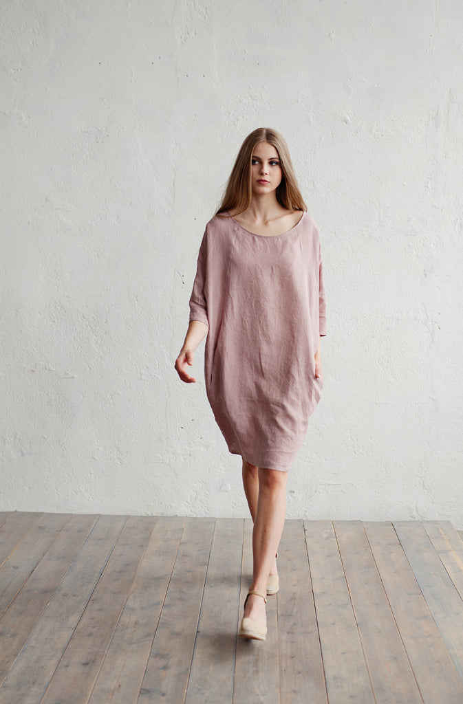 Stonewashed linen tunic ashes of roses color
