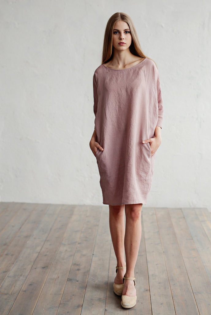 Soft pure flax dress in pastel pink